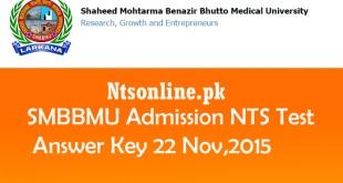 SMBBMU Admission NTS Test Answer Key 22 November 2015
