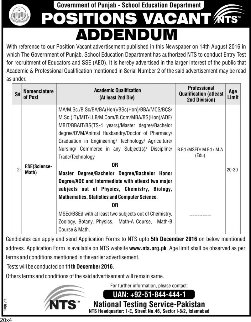 Punjab educators jobs 2016 17 ese science math bps 9 application 4 result awaiting candidates are not eligible or any other degree having grade psedesead falaconquin