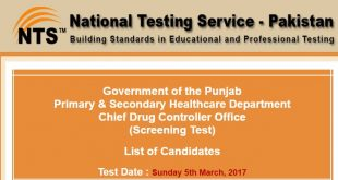 Chief Drug Controller Office Screening Test Roll No SLip ntsonline-2017-02-25-18-06-21