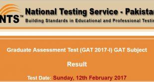 Graduate Assessment Test (GAT 2017-I) GAT Subject 2017-02-20-15-31-22