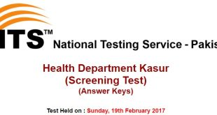 Health Department Kasur Test Answer Keys