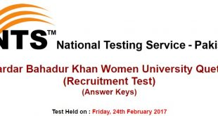 Sardar Bahadur Khan Women University Quetta Test Answer Keys