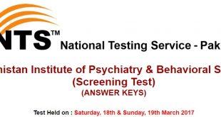 Balochistan Institute of Psychiatry & Behavioral Sciences NTS Test Answer keys