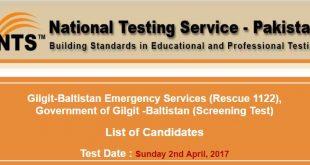 Gilgit-Baltistan Emergency Services (Rescue 1122) roll no slip 2nd april 2017