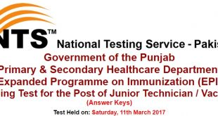 Primary & Secondary Healthcare Department EPI NTS Test Answer keys