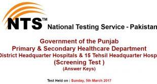 Punjab P&SHD Jobs 2017 Test Answer keys