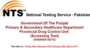 Punjab P&SHD NTS Test Answer keys 24th 25th & 26th March 2017