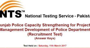 Punjab Police NTS Test Answer keys 2017
