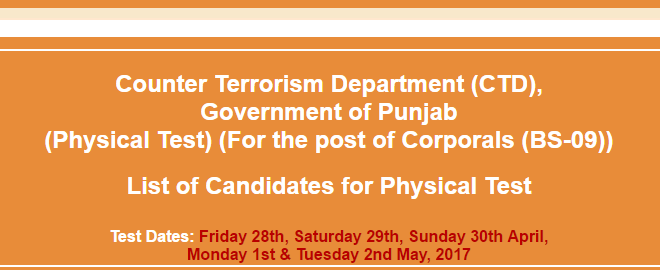 CTD Govt of Punjab For the post of Corporals Time 345