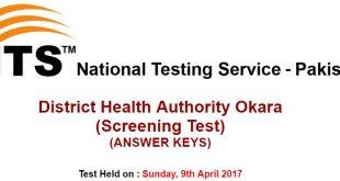 District Health Authority Okara Nts test Answer keys 2017-12-04