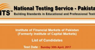Institute of Financial Markets of Pakistan Test Roll no slip 23-04-2017