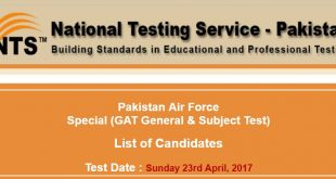 Pakistan Air Force NTS Test Roll no slip 21=04-2017