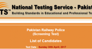 Pakistan Railway Police Sunday 30th April 2017 Test nts.org.pk