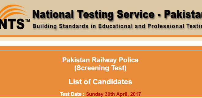 Pakistan Railway Police Sunday 30th April 2017 Test nts.org.pk