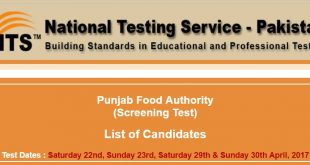Punjab Food Authority NTS Test Roll no slip 19th April 2017