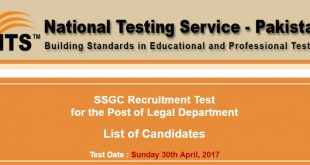 SSGC Recruitment Test List Of Candidates 30-04-2017
