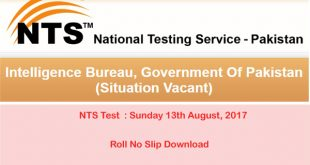 Board of Revenue Sindh NTS Test Roll No Slip 2017