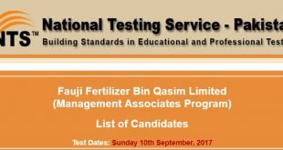 Fauji Fertilizer Bin Qasim Limited Management Associates Program 2017