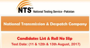 NTDC Screening Test Jobs August 2017 7-8-2017 ntsonline